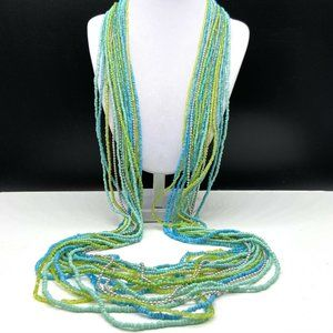 Chico's Seed Beaded Multi Strand Long Necklace